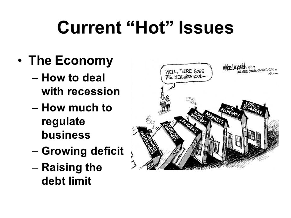 Current Hot Issues The Economy –How to deal with recession –How much to regulate business –Growing deficit –Raising the debt limit