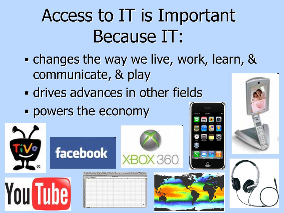 2 Access to IT is Important Because IT:  changes the way we live, work, learn, & communicate, & play  drives advances in other fields  powers the economy