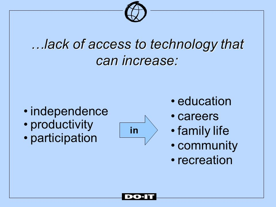 …lack of access to technology that can increase: education careers family life community recreation independence productivity participation in