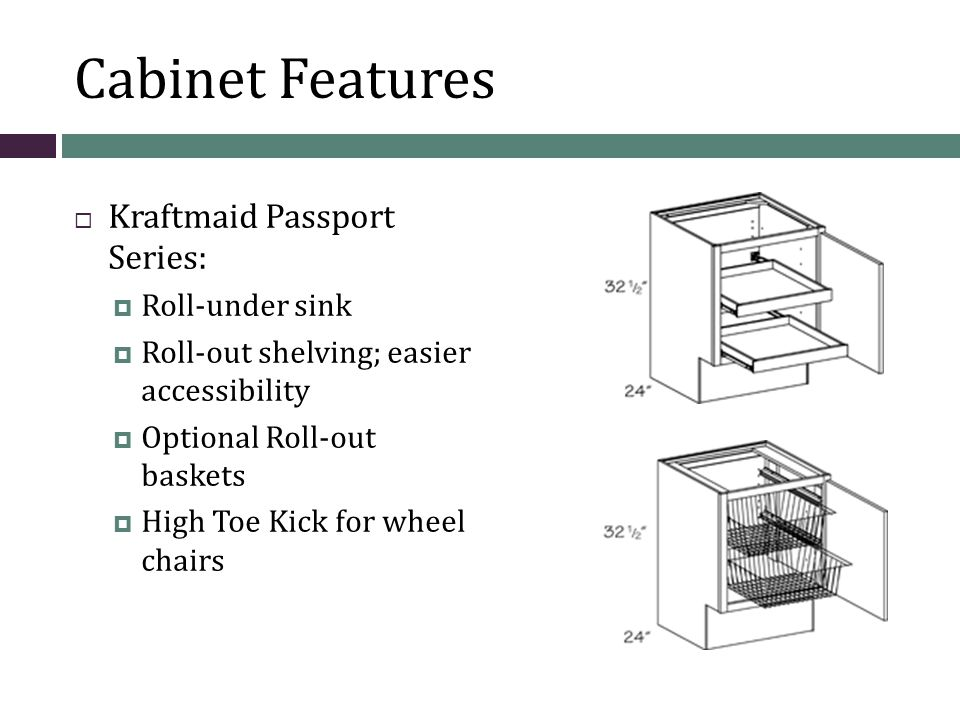 Cabinet Features  Kraftmaid Passport Series:  Roll-under sink  Roll-out shelving; easier accessibility  Optional Roll-out baskets  High Toe Kick for wheel chairs