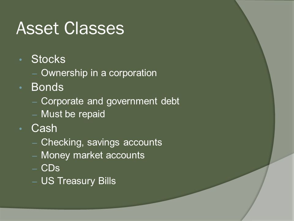 Asset Classes Stocks – Ownership in a corporation Bonds – Corporate and government debt – Must be repaid Cash – Checking, savings accounts – Money market accounts – CDs – US Treasury Bills