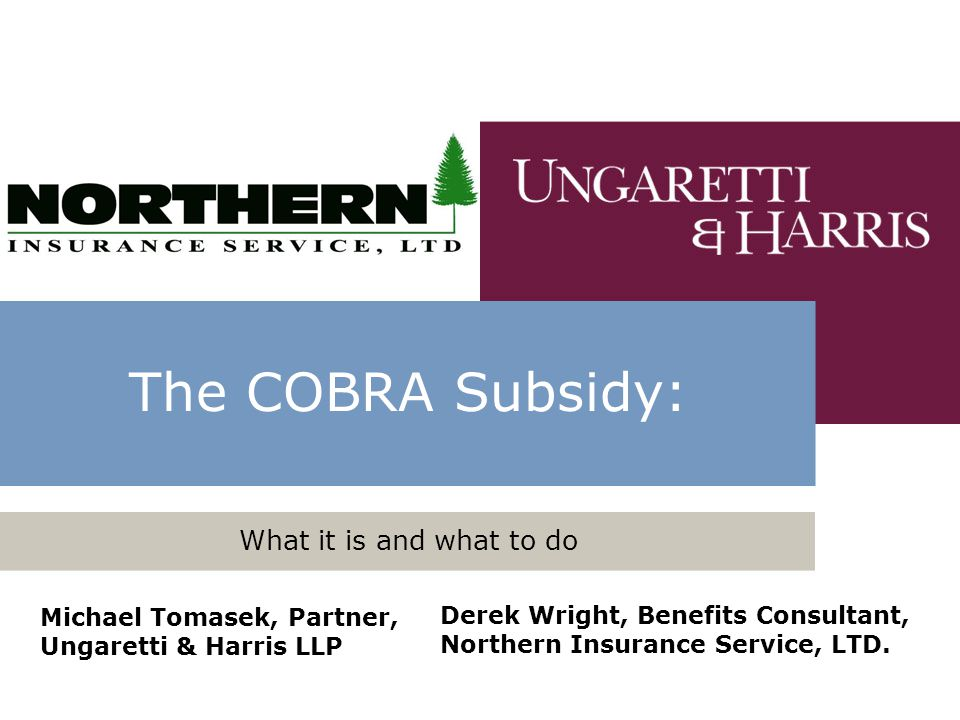 The COBRA Subsidy: What it is and what to do Michael Tomasek, Partner, Ungaretti & Harris LLP Derek Wright, Benefits Consultant, Northern Insurance Se