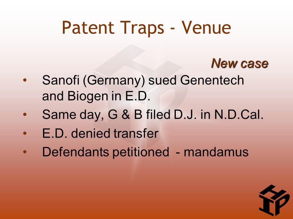 Sanofi (Germany) sued Genentech and Biogen in E.D. Same day, G & B filed D.J. in N.D.Cal. E.D. denied transfer Defendants petitioned - mandamus New ca