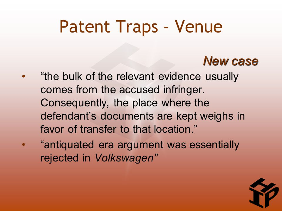 the bulk of the relevant evidence usually comes from the accused infringer.