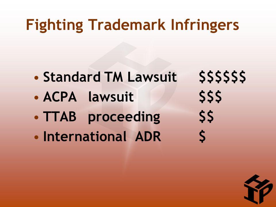 Fighting Trademark Infringers Standard TM Lawsuit$$$$$$ ACPA lawsuit$$$ TTABproceeding$$ International ADR $