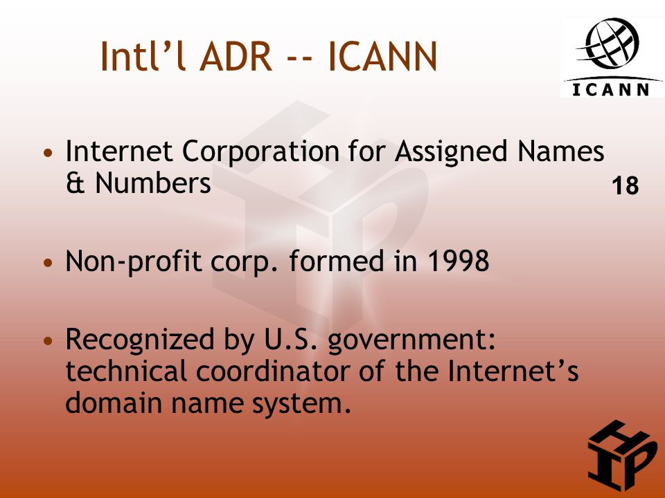 Intl'l ADR -- ICANN Internet Corporation for Assigned Names & Numbers Non-profit corp.