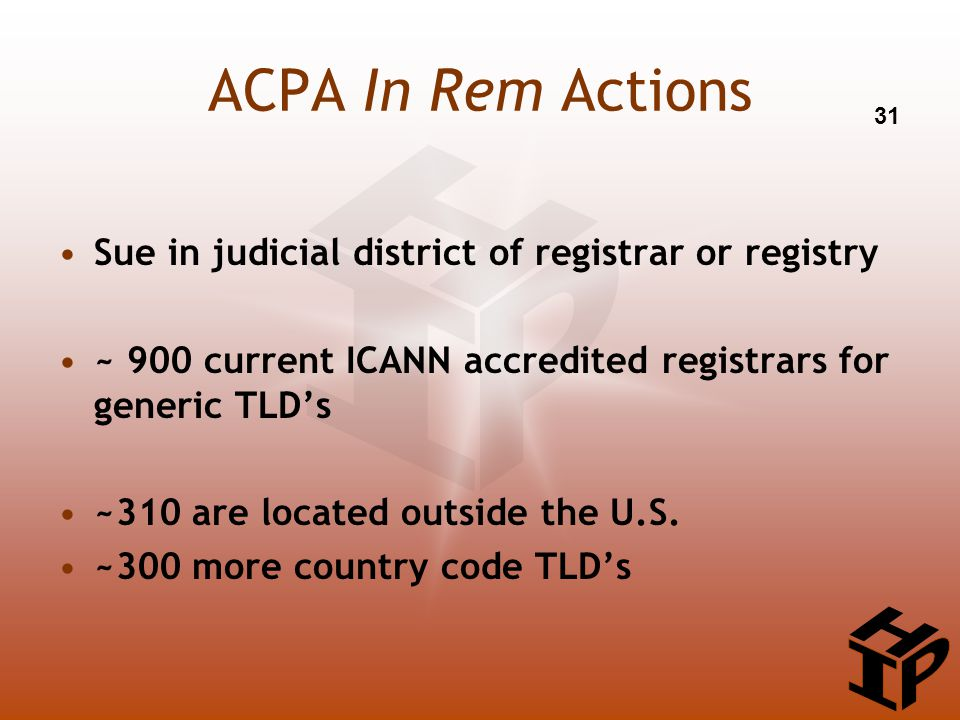 ACPA In Rem Actions Sue in judicial district of registrar or registry ~ 900 current ICANN accredited registrars for generic TLD's ~310 are located outside the U.S.