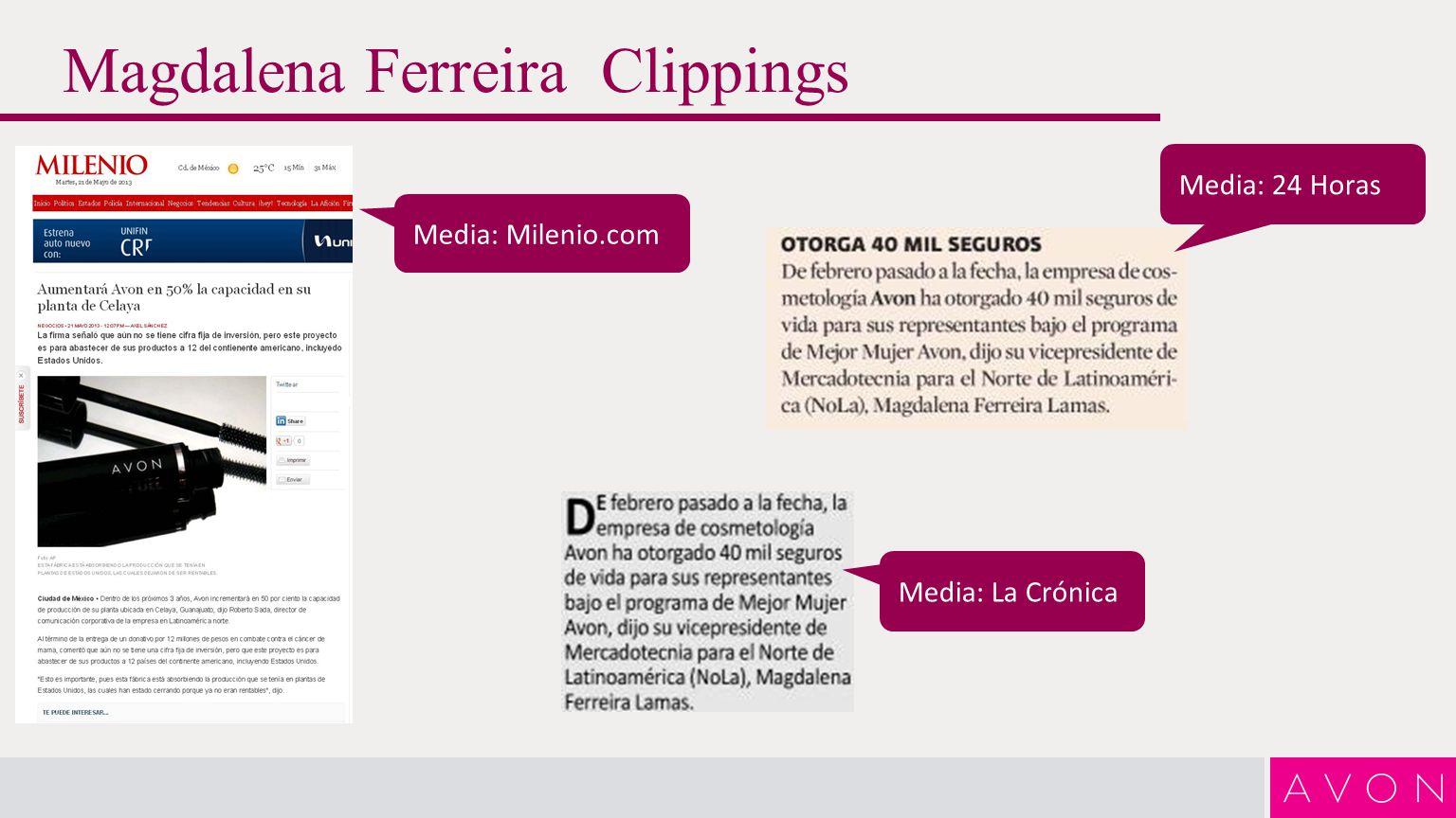 Magdalena Ferreira Clippings Media: Financiero.com Media: NOTIMEX