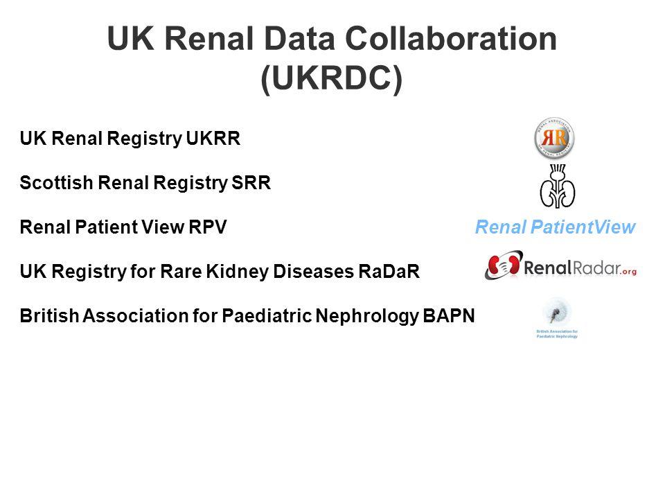 UK Renal Registry UKRR Scottish Renal Registry SRR Renal Patient View RPV Renal PatientView UK Registry for Rare Kidney Diseases RaDaR British Association for Paediatric Nephrology BAPN UK Renal Data Collaboration (UKRDC)