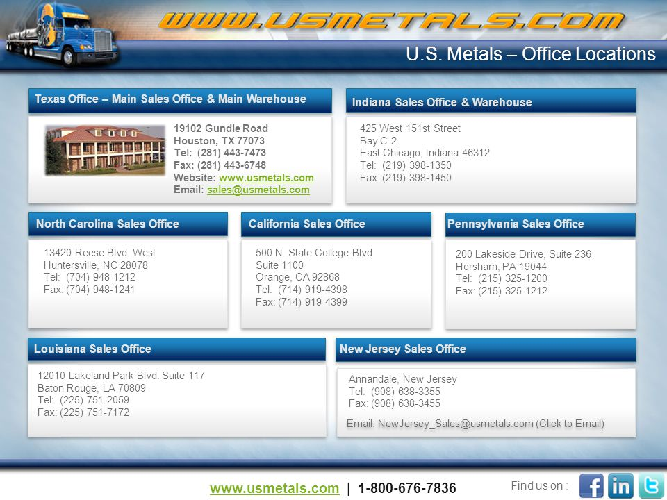425 West 151st Street Bay C-2 East Chicago, Indiana 46312 Tel: (219) 398-1350 Fax: (219) 398-1450 Indiana Sales Office & Warehouse U.S.