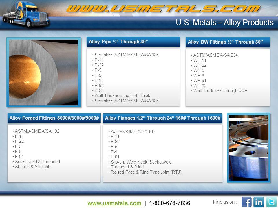 Alloy Pipe ½ Through 30 Alloy BW Fittings ½ Through 30 Alloy Forged Fittings 3000#/6000#/9000#Alloy Flanges 1/2 Through 24 150# Through 1500# U.S.