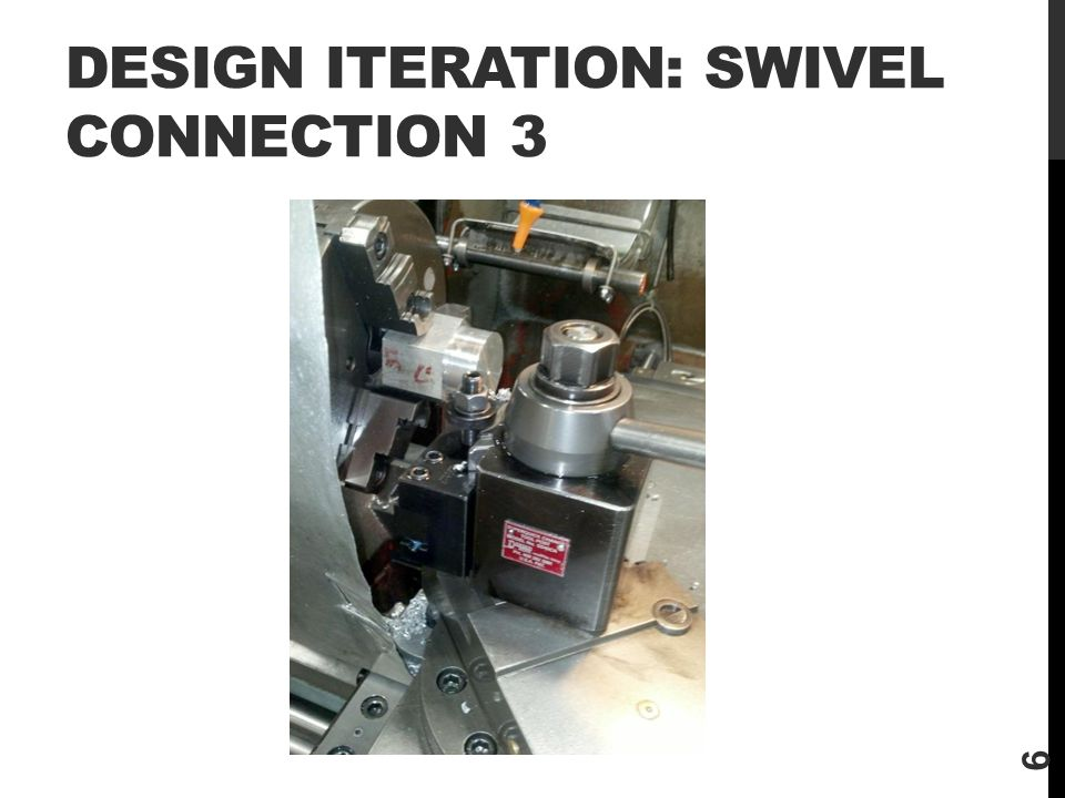 DESIGN ITERATION: SWIVEL CONNECTION 3 6