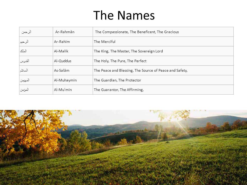 The Names العزيز Al-AzizThe Almighty, The Sufficient, The Honorable الجبار Al-JabbarThe Irresistible, The Compeller, The Lofty, المتكبر Al-MutakabbirThe Highest, The Greatest الخالق Al-KhāliqThe Creator البارئ Al-Bāri The Rightful; The Maker of Perfect Harmony المصور Al-MusawwirThe Evolver, The Fashioner of Forms الغفار Al-GhaffārThe Forgiving