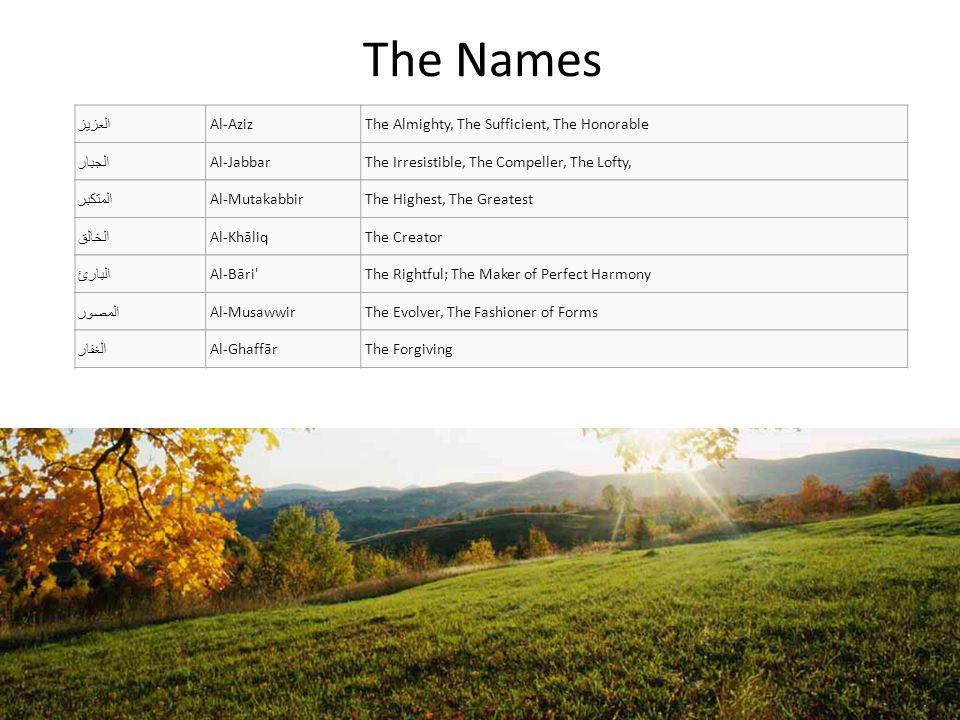 The Names ذو الجلال والإكرام Dhū-l-Jalāli wa-l- ikrām The Lord of Majesty and Generosity المقسط Al-MuqsiţThe Equitable, The Requiter الجامع Al-JāmiThe Gatherer, The Unifier الغني Al-GhaniyyThe Rich, The Independent المغني Al-MughniThe Enricher, The Emancipator المانع Al-Māni The Withholder, The Shielder, the Defender الضار Ad-DārrThe Distressor, The Harmer, The Afflictor