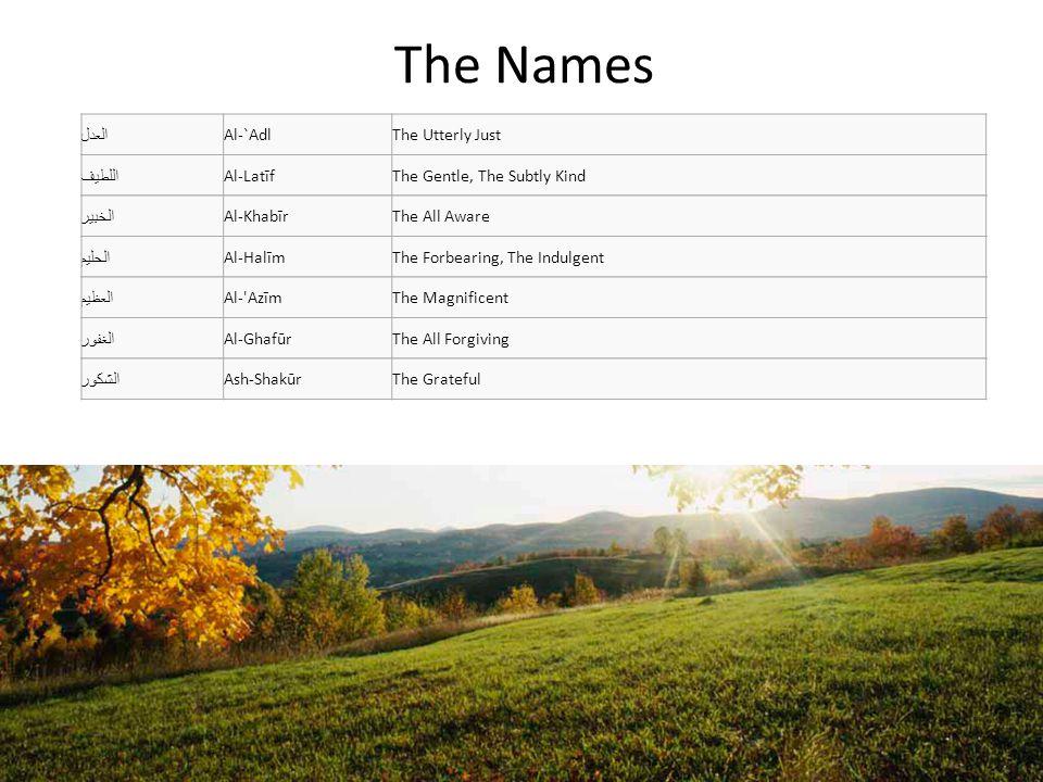 The Names العلي Al- AliyyThe Sublime الكبير Al-KabīrThe Great الحفيظ Al-HafīzThe Preserver المقيت Al-MuqītThe Nourisher الحسيب Al-HasībThe Bringer of Judgment الجليل Al-JalīlThe Majestic الكريم Al-KarīmThe Bountiful, The Generous