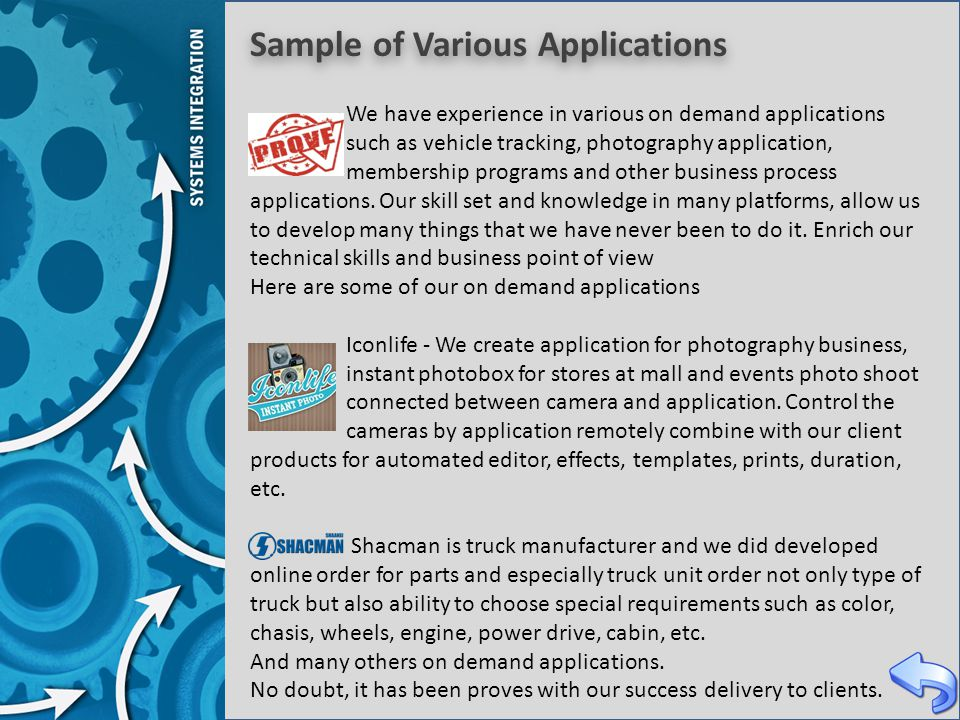 Sample of Various Applications We have experience in various on demand applications such as vehicle tracking, photography application, membership prog