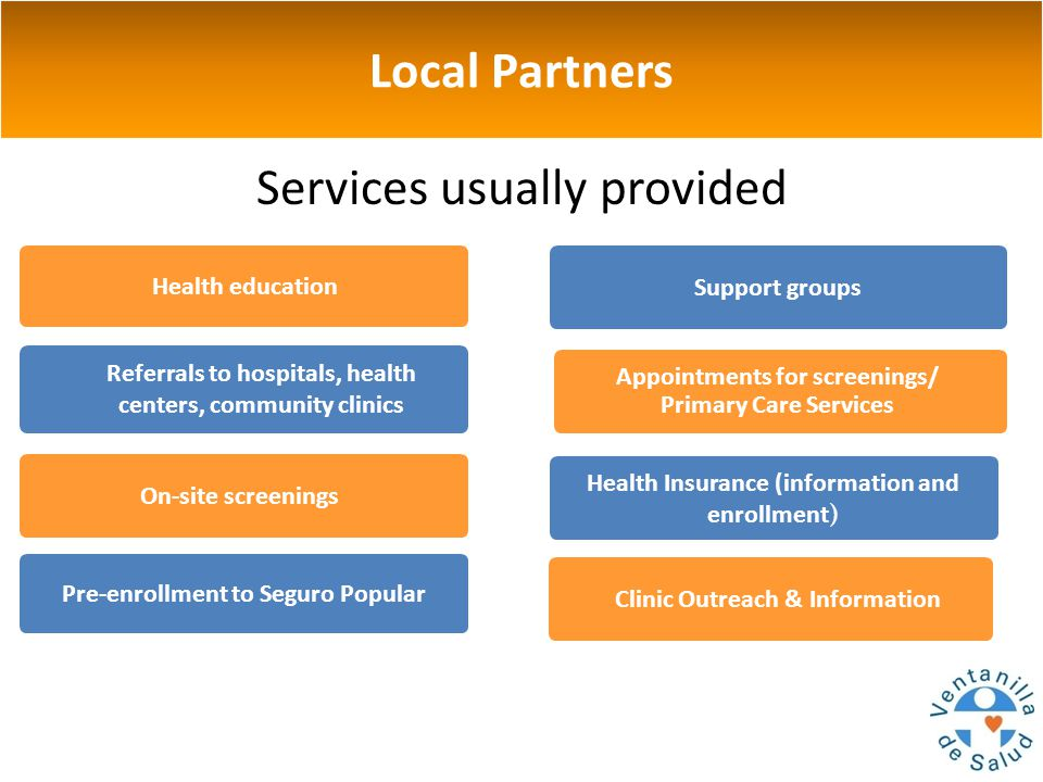 Local Partners Services usually provided Appointments for screenings/ Primary Care Services Health Insurance (information and enrollment) Clinic Outreach & Information Referrals to hospitals, health centers, community clinics Support groups Health education On-site screenings Pre-enrollment to Seguro Popular
