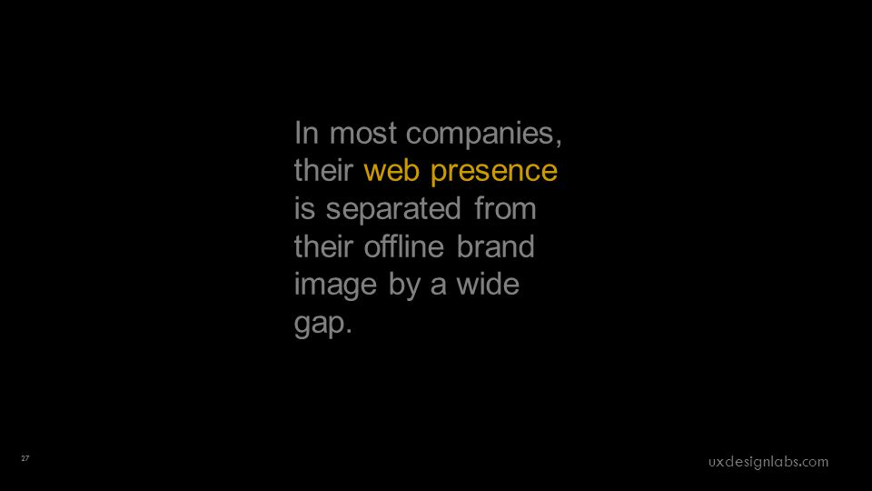 In most companies, their web presence is separated from their offline brand image by a wide gap.