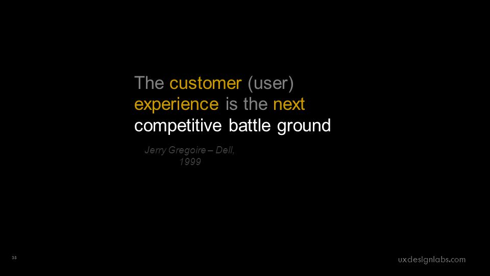 The customer (user) experience is the next competitive battle ground Jerry Gregoire – Dell, 1999 38 uxdesignlabs.com