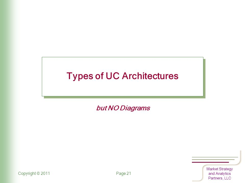 Market Strategy and Analytics Partners, LLC Copyright © 2011 Page 21 Types of UC Architectures but NO Diagrams