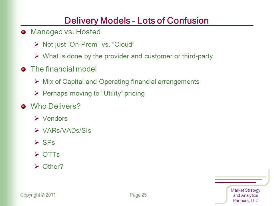 Market Strategy and Analytics Partners, LLC Delivery Models – Lots of Confusion Managed vs.
