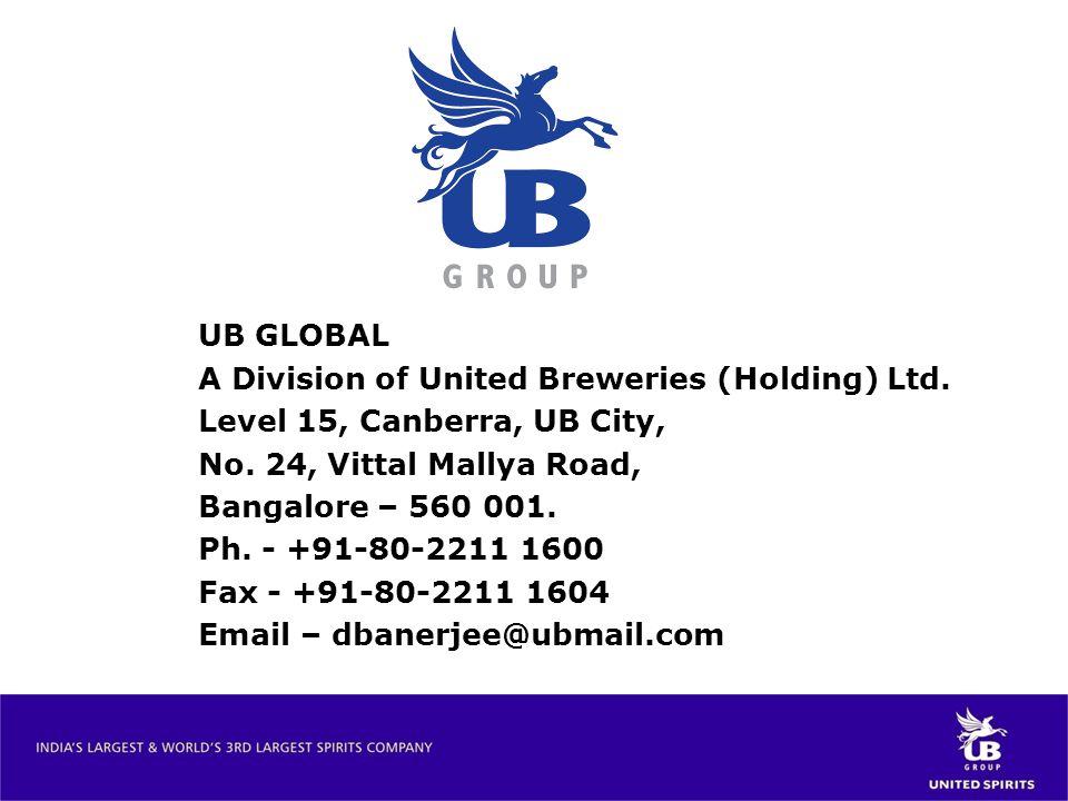 UB GLOBAL A Division of United Breweries (Holding) Ltd. Level 15, Canberra, UB City, No. 24, Vittal Mallya Road, Bangalore – 560 001. Ph. - +91-80-221