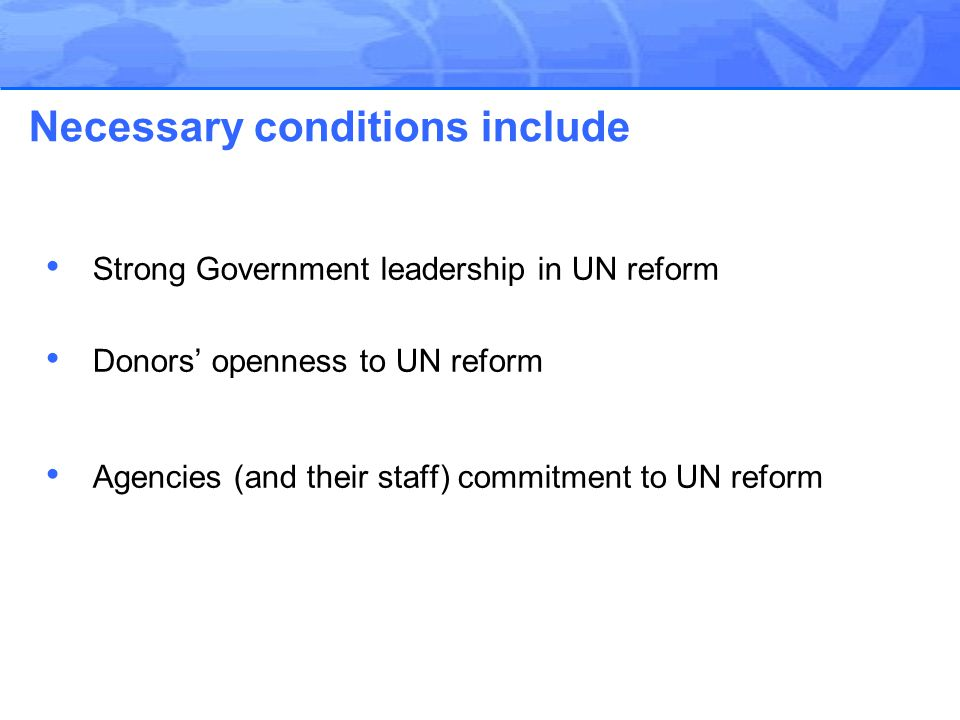 Strong Government leadership in UN reform Donors' openness to UN reform Agencies (and their staff) commitment to UN reform Necessary conditions include