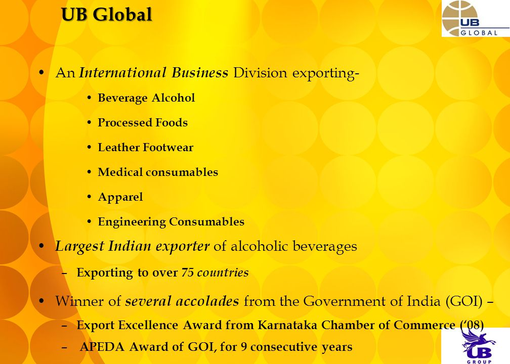UB Global An International Business Division exporting- Beverage Alcohol Processed Foods Leather Footwear Medical consumables Apparel Engineering Cons