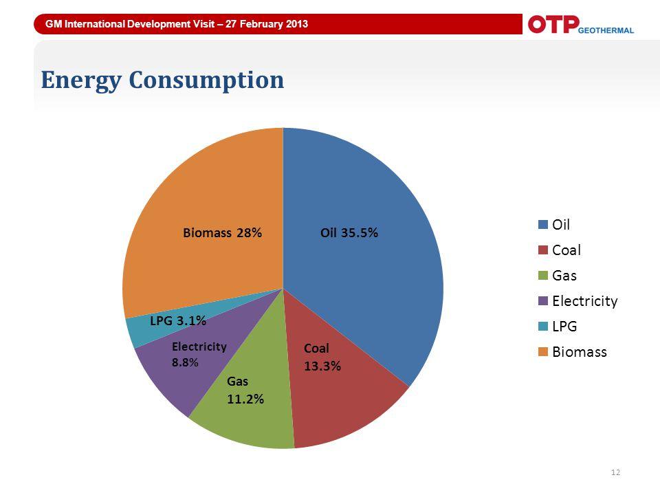 GM International Development Visit – 27 February 2013 12 Energy Consumption 12