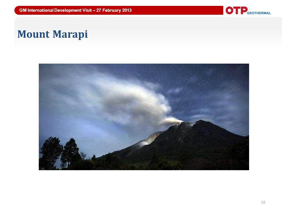 GM International Development Visit – 27 February 2013 20 Mount Marapi 20