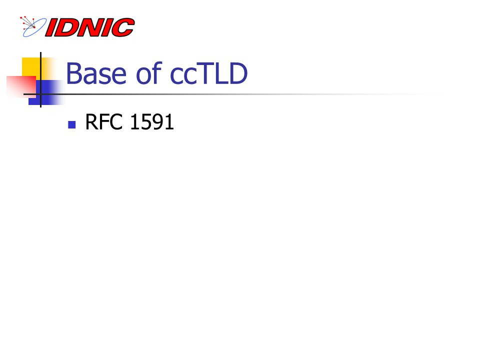 IDNIC Managing.ID TLD-ID: Budi Rahardjo IDNIC: Budi Rahardjo (ITB), Maman Sutarman (UI) Domains: ac, co, go, mil, or, net, sch, web