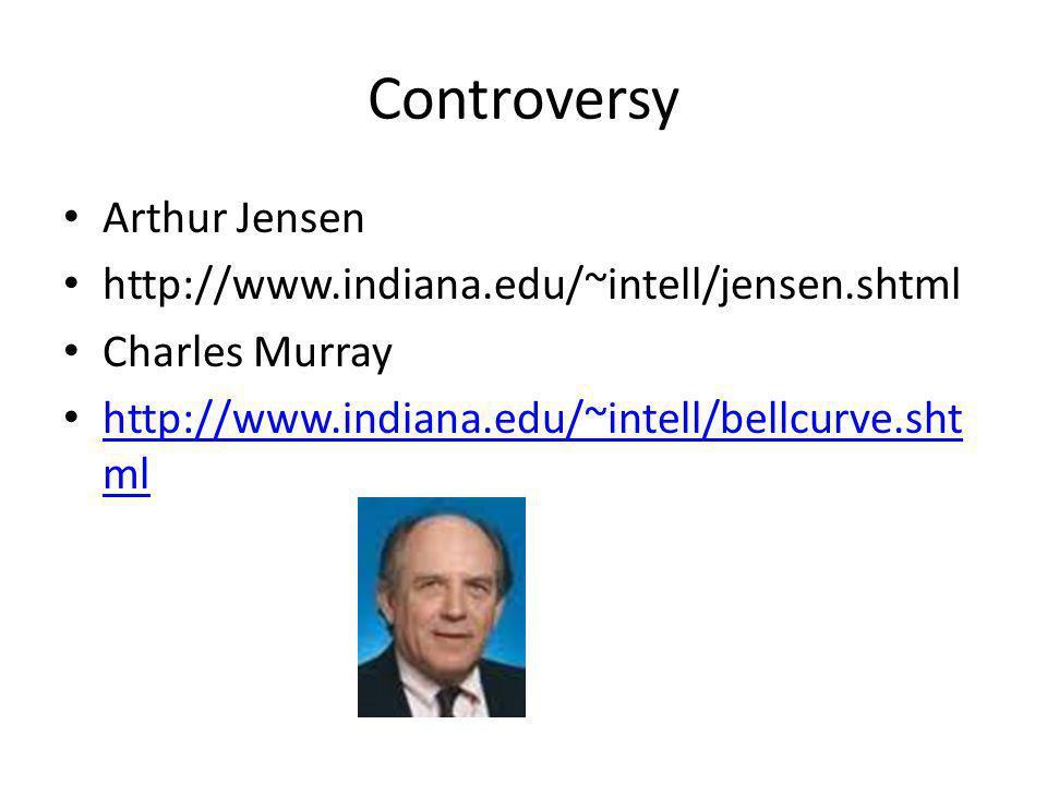 Controversy Arthur Jensen http://www.indiana.edu/~intell/jensen.shtml Charles Murray http://www.indiana.edu/~intell/bellcurve.sht ml http://www.indiana.edu/~intell/bellcurve.sht ml