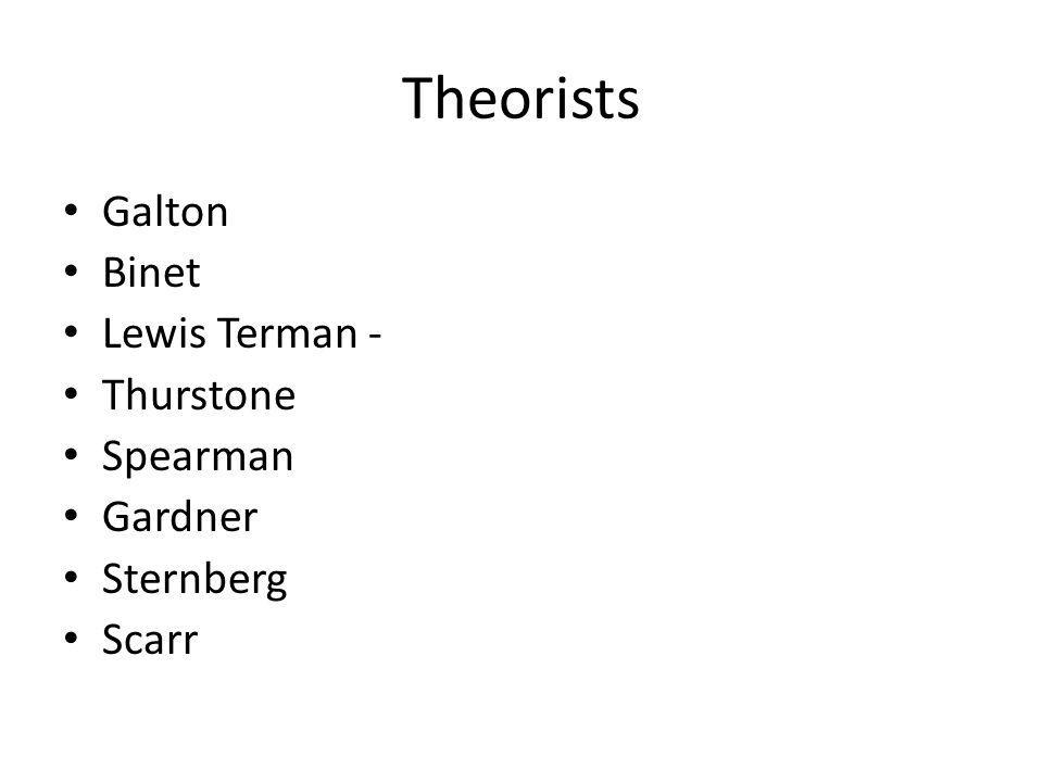 Theorists Galton Binet Lewis Terman - Thurstone Spearman Gardner Sternberg Scarr