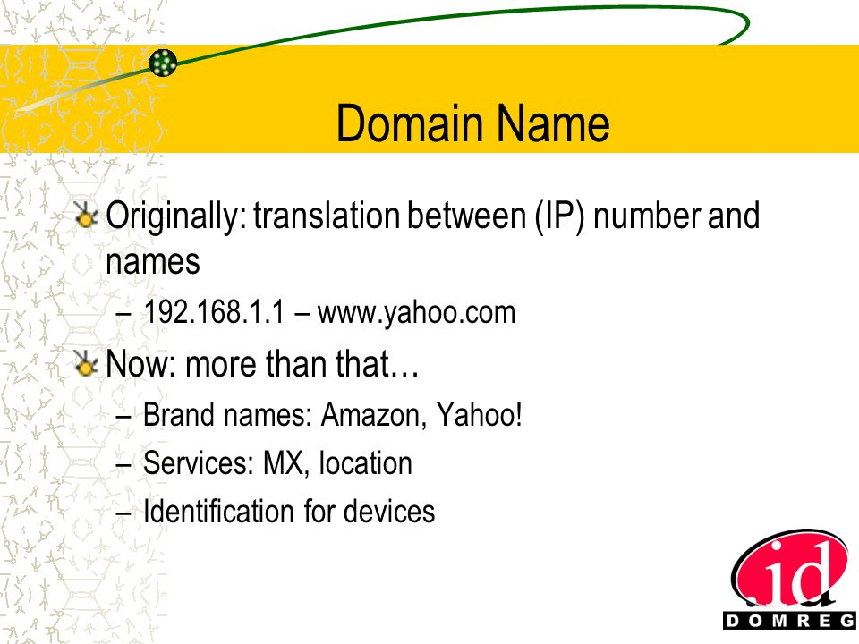 Domain Name Originally: translation between (IP) number and names –192.168.1.1 – www.yahoo.com Now: more than that… –Brand names: Amazon, Yahoo.