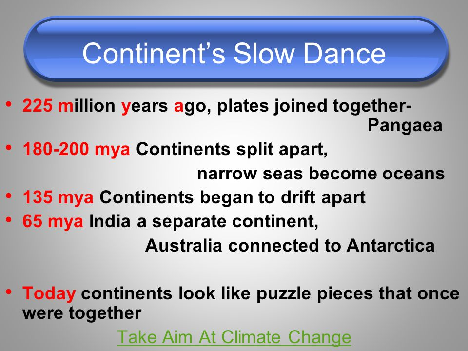 Continent's Slow Dance 225 million years ago, plates joined together- Pangaea 180-200 mya Continents split apart, narrow seas become oceans 135 mya Continents began to drift apart 65 mya India a separate continent, Australia connected to Antarctica Today continents look like puzzle pieces that once were together Take Aim At Climate Change
