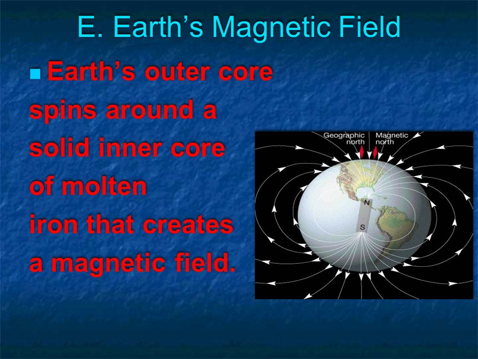 E. Earth's Magnetic Field Earth's outer core spins around a solid inner core of molten iron that creates a magnetic field. Earth's outer core spins ar