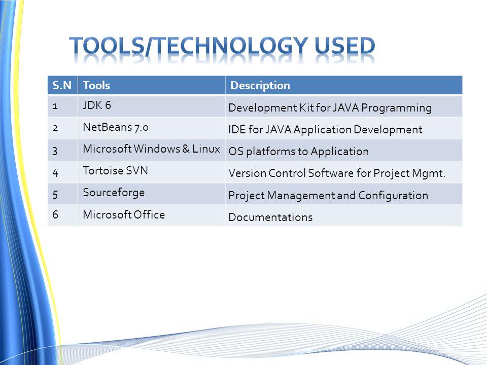 S.NToolsDescription 1JDK 6 Development Kit for JAVA Programming 2NetBeans 7.0 IDE for JAVA Application Development 3Microsoft Windows & Linux OS platforms to Application 4Tortoise SVN Version Control Software for Project Mgmt.