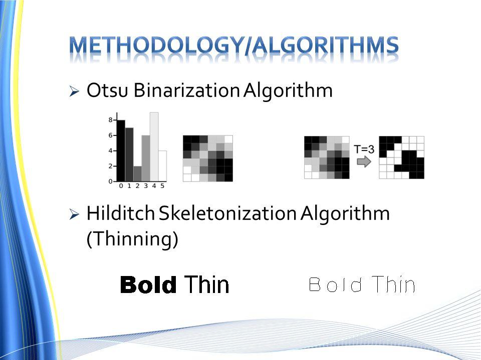  Otsu Binarization Algorithm  Hilditch Skeletonization Algorithm (Thinning)