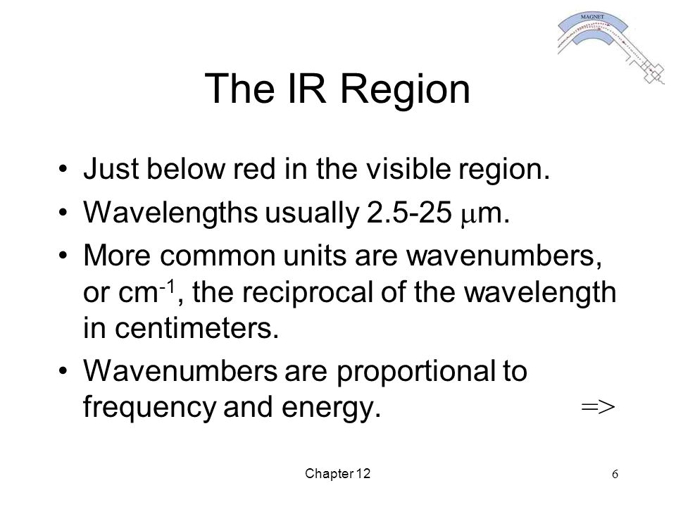 Chapter 12 6 The IR Region Just below red in the visible region. Wavelengths usually 2.5-25  m. More common units are wavenumbers, or cm -1, the reci