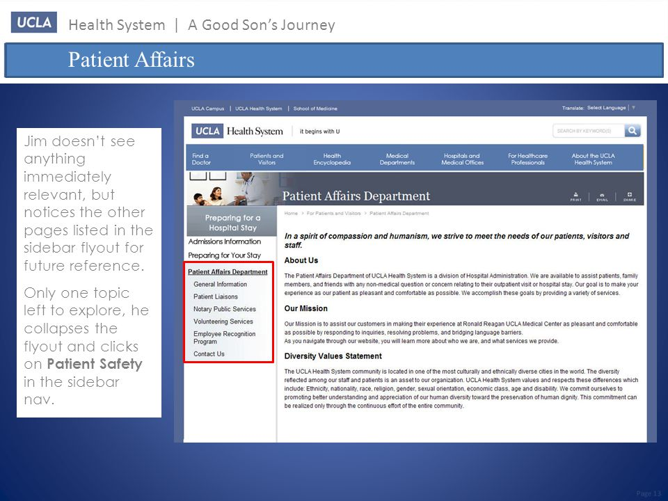 Health System | A Good Son's Journey Patient Affairs Page 13 Jim doesn't see anything immediately relevant, but notices the other pages listed in the sidebar flyout for future reference.