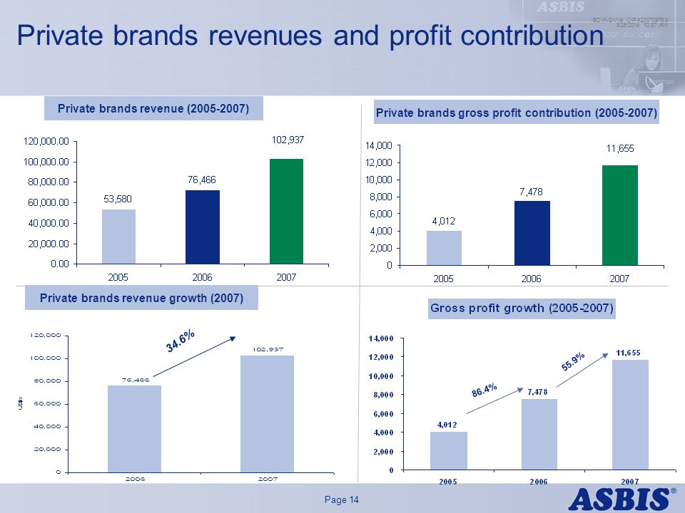 Main colour palette Secondary colour palette Map colours FillLine Page 14 8/25/ :39 AM IBD\ING\War O\P\X Private brands revenues and profit contribution Private brands revenue ( ) Private brands gross profit contribution ( ) 34.6% Private brands revenue growth (2007) 86.4% 55.9%