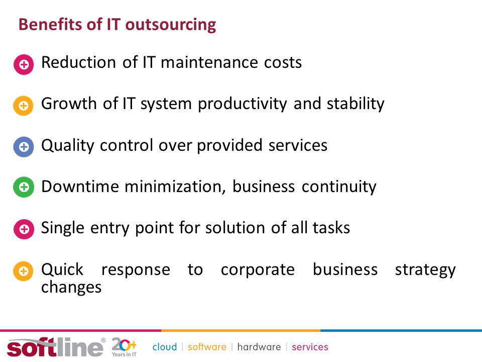 Benefits of IT outsourcing Reduction of IT maintenance costs Growth of IT system productivity and stability Quality control over provided services Downtime minimization, business continuity Single entry point for solution of all tasks Quick response to corporate business strategy changes