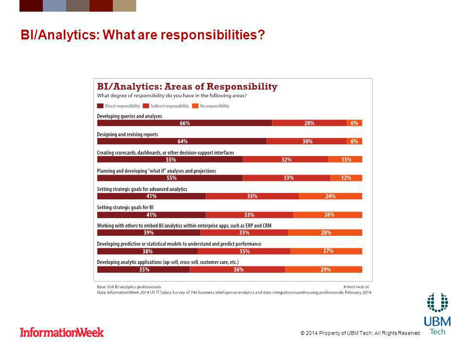 BI/Analytics: What are responsibilities © 2014 Property of UBM Tech; All Rights Reserved