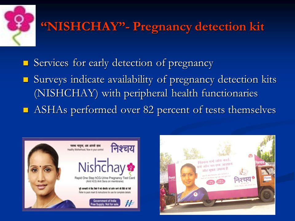 """NISHCHAY""- Pregnancy detection kit Services for early detection of pregnancy Services for early detection of pregnancy Surveys indicate availability"