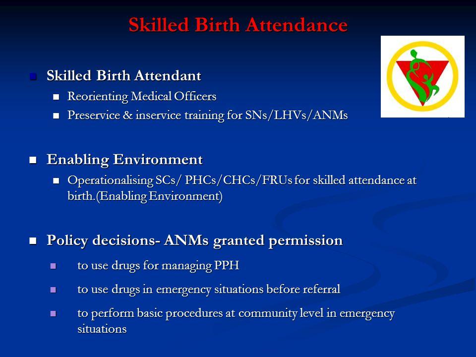 Skilled Birth Attendance Skilled Birth Attendant Skilled Birth Attendant Reorienting Medical Officers Reorienting Medical Officers Preservice & inserv