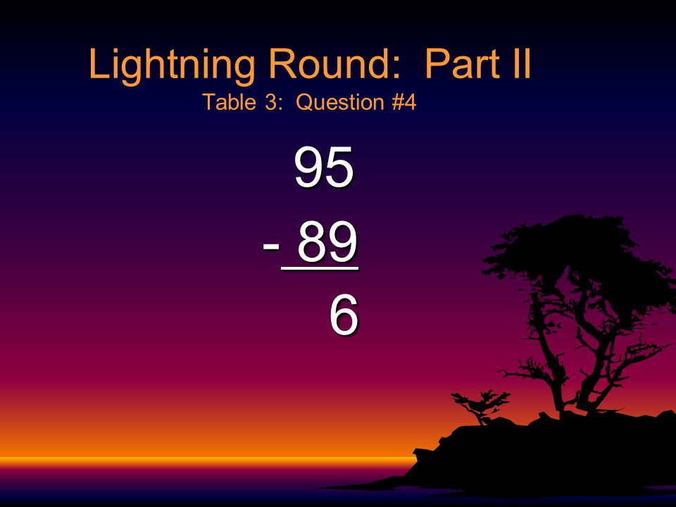 Lightning Round: Part II Table 3: Question #3 754 754 - 199 555 555