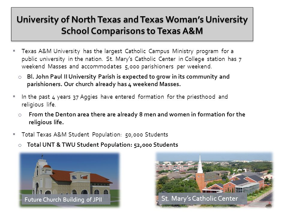  Texas A&M University has the largest Catholic Campus Ministry program for a public university in the nation.