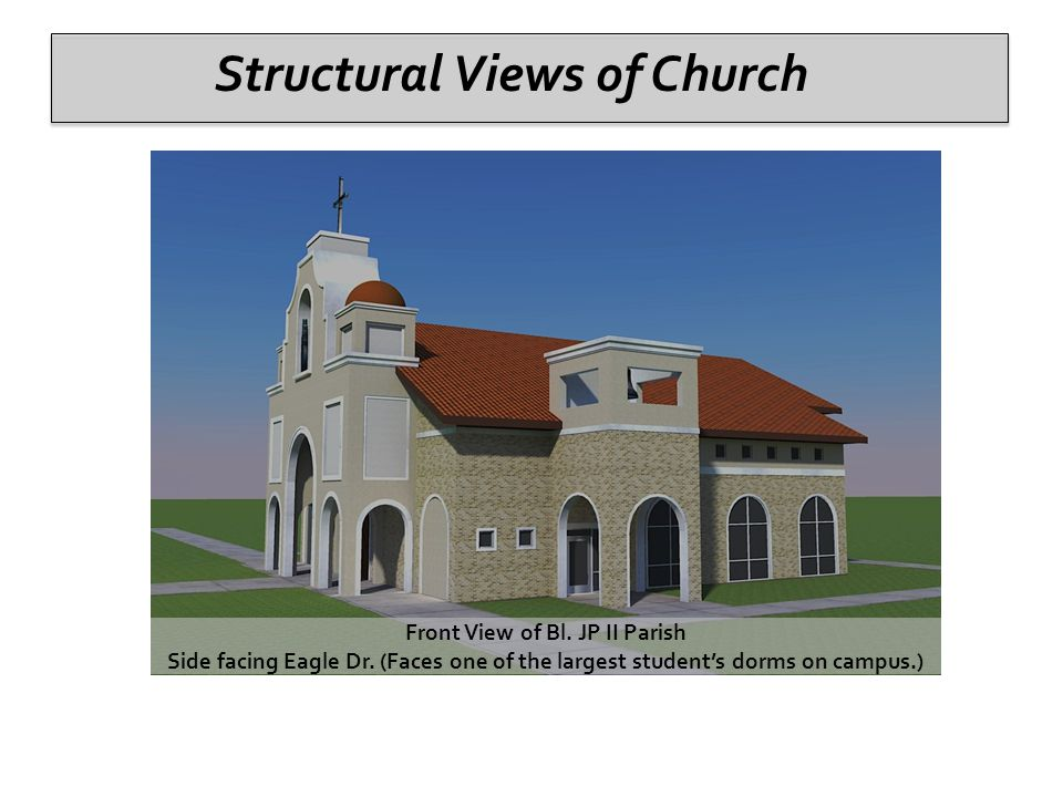 Structural Views of Church Front View of Bl. JP II Parish Side facing Eagle Dr.