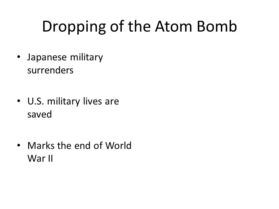 Dropping of the Atom Bomb Japanese military surrenders U.S.