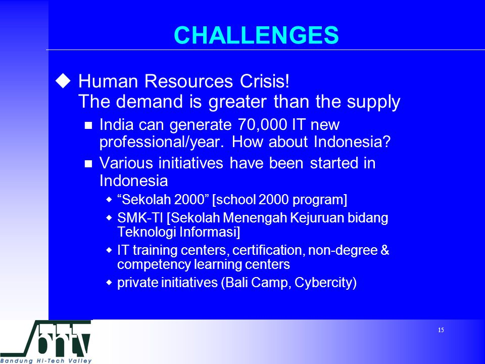 15 CHALLENGES  Human Resources Crisis.